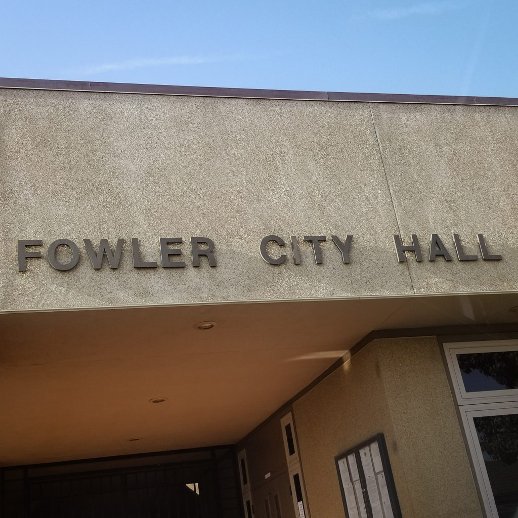 Building with a sign that reads Fowler City Hall